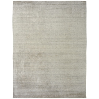 Handmade Meridian Cream Wool and Viscose Area Rug - 12' x 15'