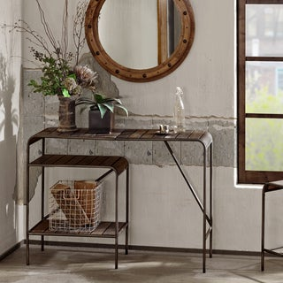 INK+IVY Renu Light Brown Multi/ Gunmetal Console Table