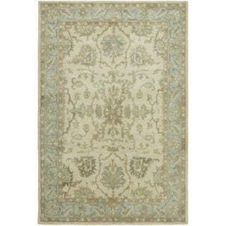 Seville Hand-tufted Ivory and Light Blue Wool and Viscose Area Rug (2'6x10')