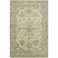 Seville Hand-tufted Ivory and Light Blue Wool and Viscose Area Rug (2'6x10') - 2'6 x 10'
