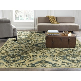 Seville Sand and Bluebell Wool and Viscose Hand-tufted Area Rug (2'6x10')