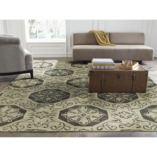 Seville Hand-tufted Beige/Grey Wool and Viscose Area Rug (2'6 x 10')