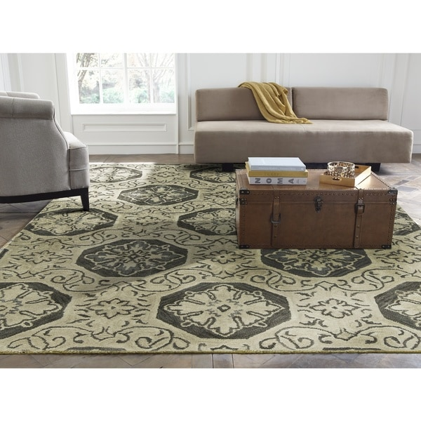 Seville Hand-tufted Beige/Grey Wool and Viscose Area Rug (2'6 x 10') - 2'6 x 10'