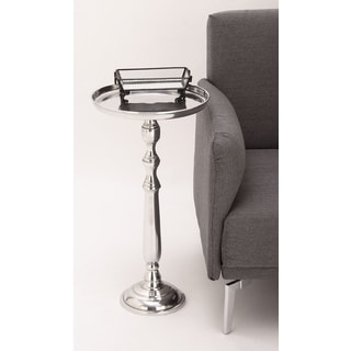 Urban Designs Petite Polished Nickel Cast Aluminum Round Pedestal Tray Side/Accent Table
