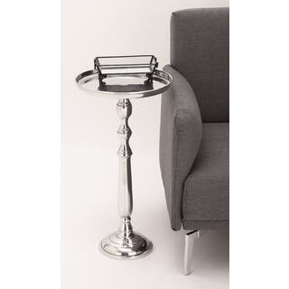 Urban Designs Petite Polished Nickel Cast Aluminum Round Pedestal Tray Side/Accent Table|https://ak1.ostkcdn.com/images/products/15859680/P22269066.jpg?impolicy=medium