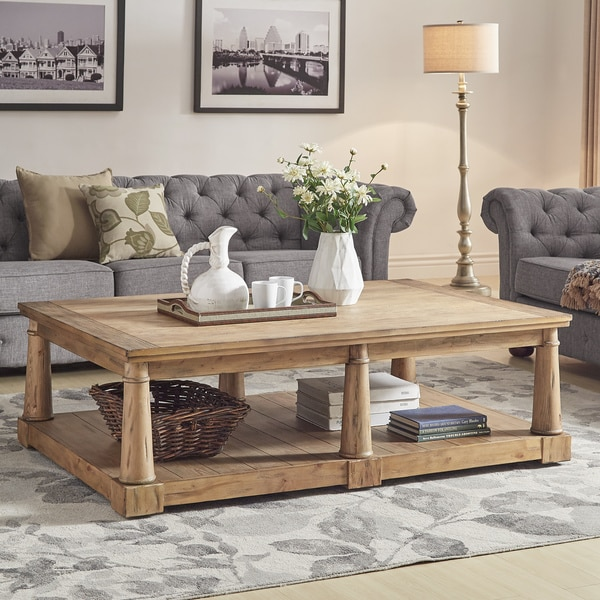 Neall Rustic Pine Finish Castered Cocktail Table by iNSPIRE Q Artisan