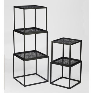 Black Metal Stackable Cubes (Set of 5)