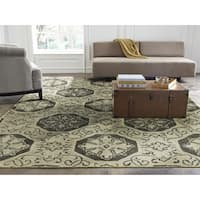 "Seville Beige and Grey Hand-tufted Wool and Silkette Area Rug (9'6x13') - 9'6"" x 13'"