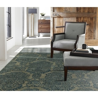 Seville Hand-tufted Blue Wool and Viscose Damask Area Rug (8'6 x 11'6)