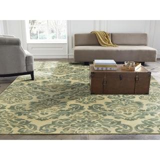 Seville Beige/Jade Wool/Viscose Hand-tufted Floral Area Rug (8'6 x 11'6)