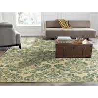 "Seville Beige/Jade Wool/Viscose Hand-tufted Floral Area Rug (8'6 x 11'6) - 8'6"" x 11'6"""