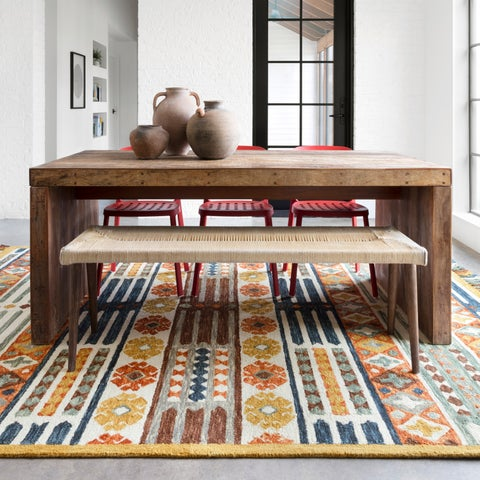 Hand-hooked Rust/ Blue Boho Wool Area Rug with Fringe - 3'6 x 5'6
