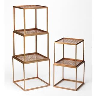 Rose Goldtone Metal Stackable Cubes (Set of 5)