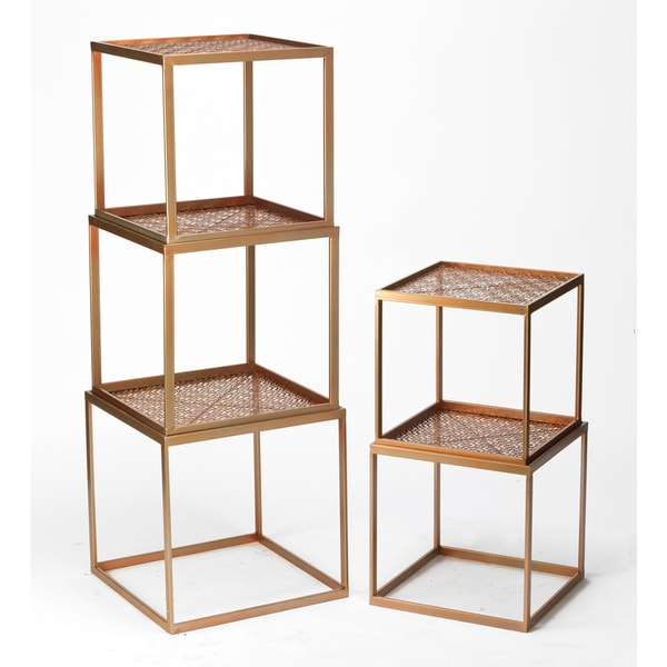Rose Goldtone Metal Stackable Cubes (Set Of 5)