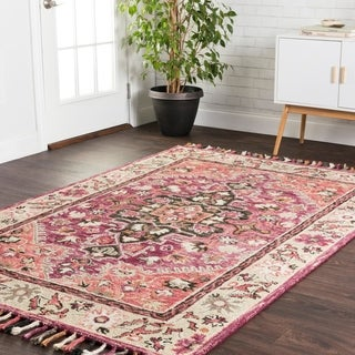 """Hand-hooked Sonnet Raspberry/ Taupe Wool Rug (7'9 x 9'9) - 7'9"""" x 9'9"""""""