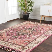 Hand-hooked Sonnet Raspberry/ Taupe Wool Rug - 3'6 x 5'6