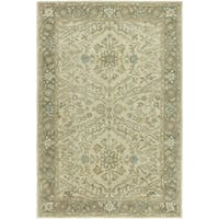 Seville Ivory/Brown Wool/Viscose Hand-tufted Area Rug (5'6 x 8'6)