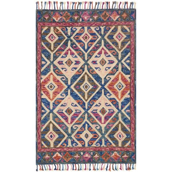 Hand-hooked Sonnet Denim/ Multi Wool Rug - 3'6 x 5'6