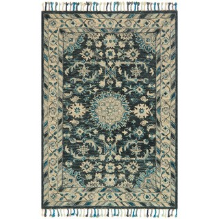 Safavieh Hand Knotted Stone Wash Blue Ivory Wool Rug 5