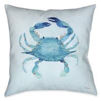 Laural Home Aqua Crab Indoor/Outdoor Decorative Pillow
