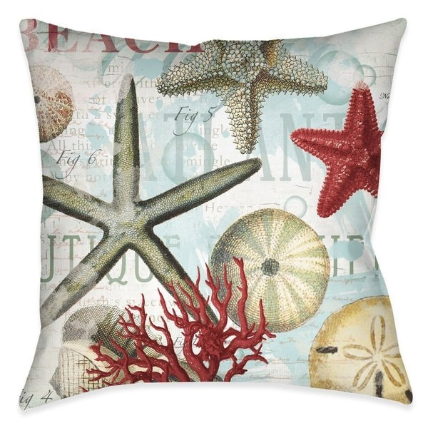 Shop Laural Home Beach Shell Collage IndoorOutdoor Decorative Cool Seashore Decorative Pillows