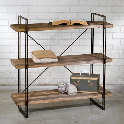 Brown Wood Metal Three Shelf Display Unit