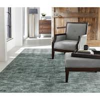 """Terra Ocean Waves Wool Silkette Handmade Area Rug (3'6x5'6) - 3'6"""" x 5'6"""""""