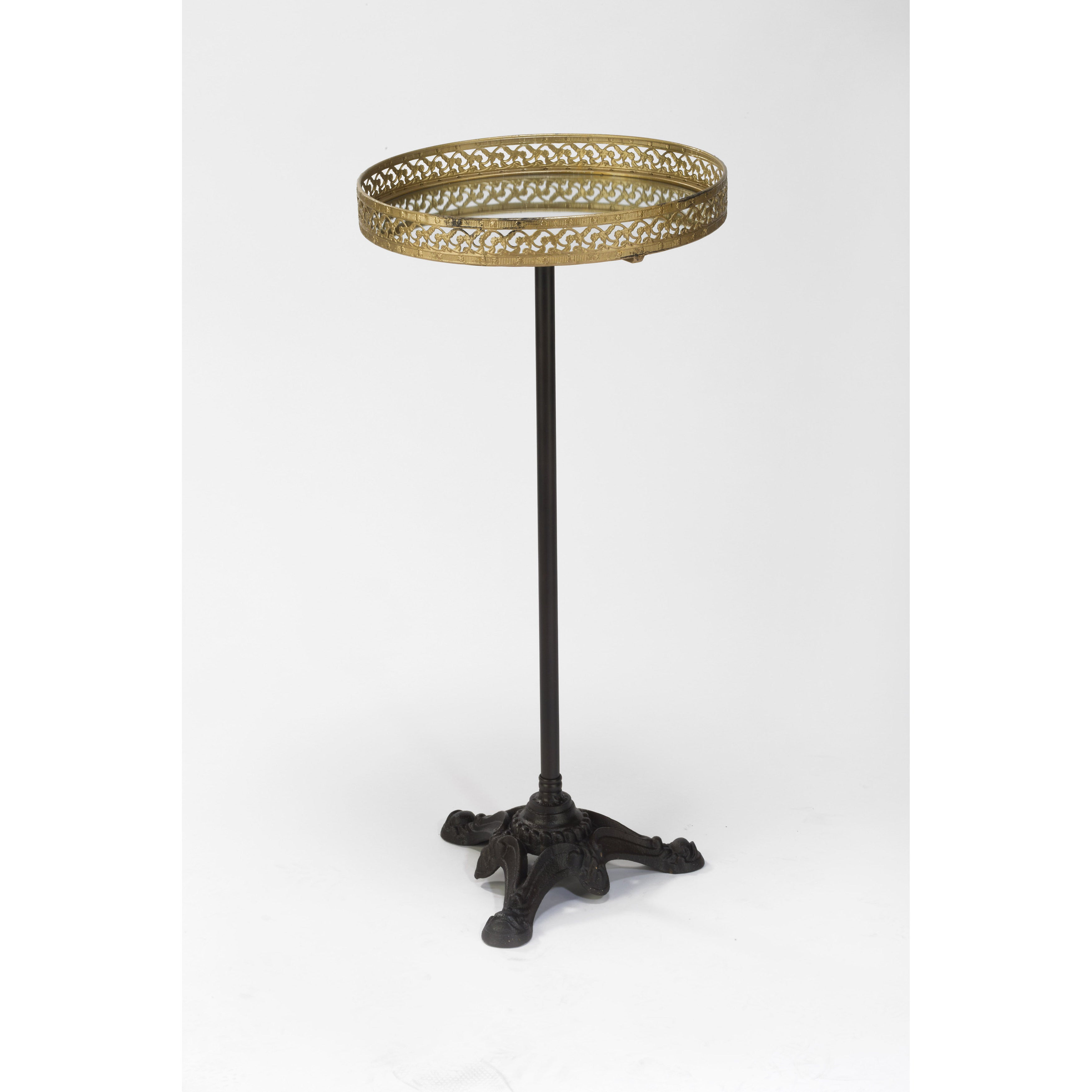 International Antique Gold Metal 33.5-inch Mirrored Table...