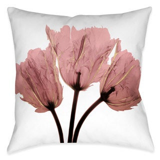 Laural Home Blushing Tulips X-Ray Indoor/Outdoor Decorative Pillow