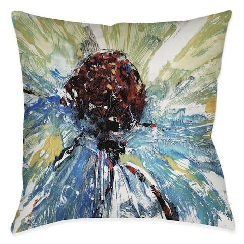 Laural Home Blue Splash Daisy Indoor/Outdoor Decorative Pillow