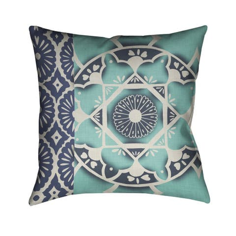Laural Home Blue Watercolor Bouquet Indoor/Outdoor Decorative Pillow