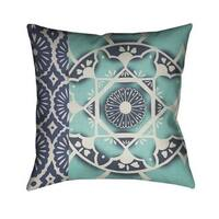 Laural Home Blue Watercolor Bouquet Indoor/Outdoor Decorative Pillow