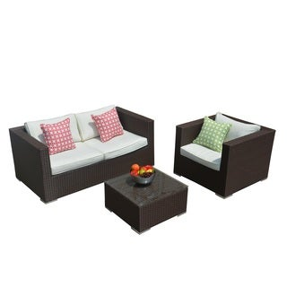 Murano Outdoor Brown Wicker 3-piece Sofa Set with Cushions