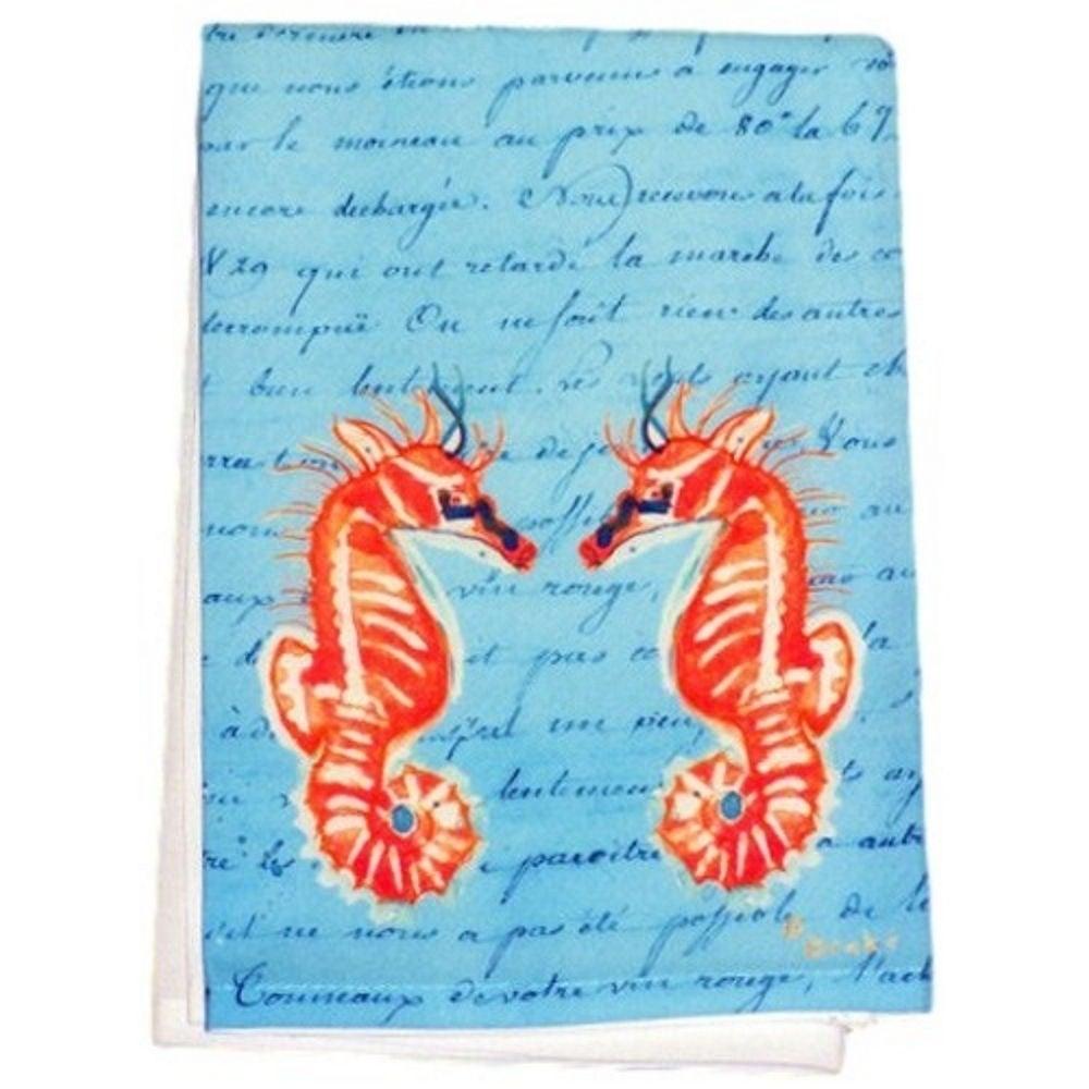Betsy Drake Coral Sea Horses Blue Script Guest Towel Set ...