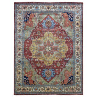 FineRugCollection Serapi Oriental Red/Gold/Blue Handmade Rug (8'11 x 11'7)