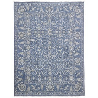 FineRugCollection Oushak Blue Wool Fine Handmade Turkish Knot Oriental Rug (9'1 x 12'4)