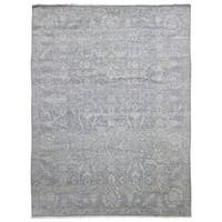 FineRugCollection Handmade Fine Oushak Turkish Knot Grey Wool Oriental Rug - 9' x 12'1
