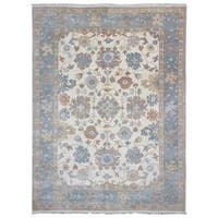 FineRugCollection Handmade Oushak Beige and Blue Wool Oriental Area Rug (9'x12'1)
