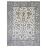 FineRugCollection Handmade Beige/Blue Wool Oushak Oriental Area Rug - 9' x 11'10