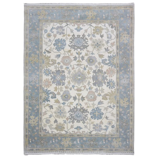 Shop Oushak Floral Tufted Wool Persian Oriental Area Rug: Shop FineRugCollection Handmade Oushak Beige Wool Oriental