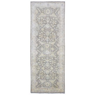 FineRugCollection Very Fine Pakistan Peshawar Brown and Beige Wool Handmade Oriental Runner Rug (4'3x11'4)