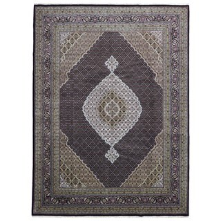 FineRugCollection Olive and Black Wool and Silk Fine Mahi Tabriz Area Rug - 9'x12'