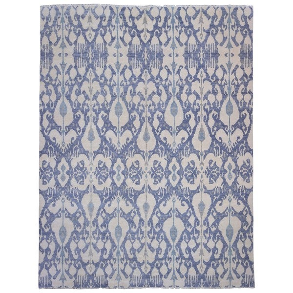 Finerugcollection Oushak Blue And Beige Wool Handmade Oversized Oriental Area Rug