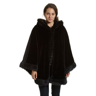 Excelled Women's Faux Fur Hooded Cape