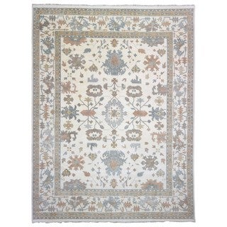 FineRugCollection Oushak Oriental Beige and Blue Handmade Rug (12'x15'2)