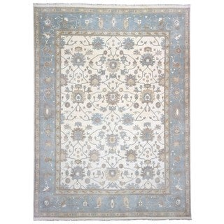 FineRugCollection Oushak Beige and Blue Wool Handmade Oriental Rug (11'11x15'3)