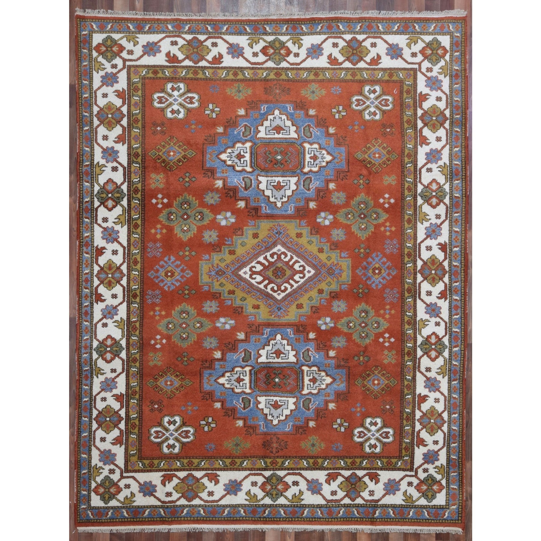 Finerugcollection Handmade Kazak Orange Blue Wool Oriental Rug On Sale Overstock 15860172