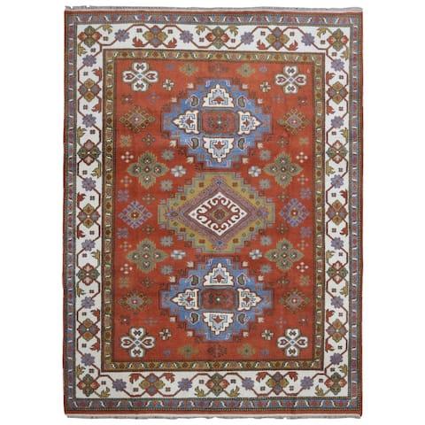 FineRugCollection Handmade Kazak Orange/ Blue Wool Oriental Rug