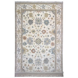 FineRugCollection Handmade Oushak Beige and Blue Wool Oriental Rug