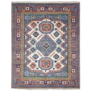 FineRugCollection Kazak Blue and Beige Wool Handmade Oriental Rug (8'1x10')